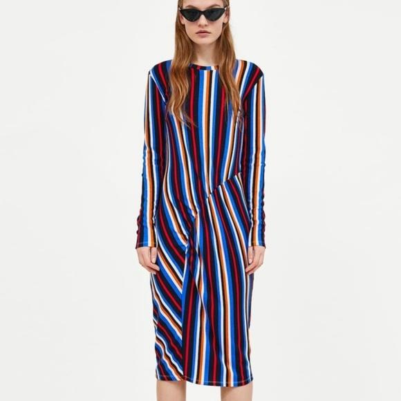 Zara Dresses & Skirts - Gathered Waist Midi Dress (NWT)